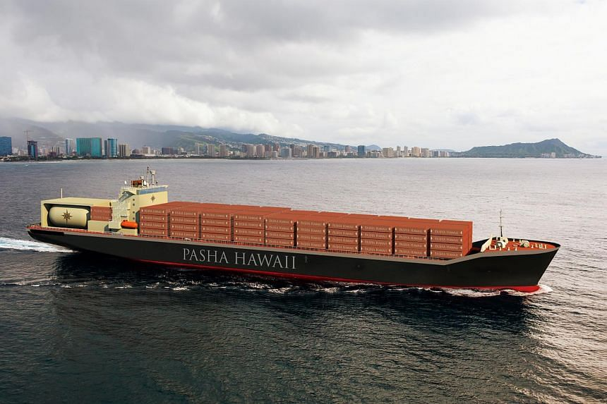 An artist's impression of one of the LNG-fueled containerships that Keppel AmFELS will be building for Pasha Hawaii.