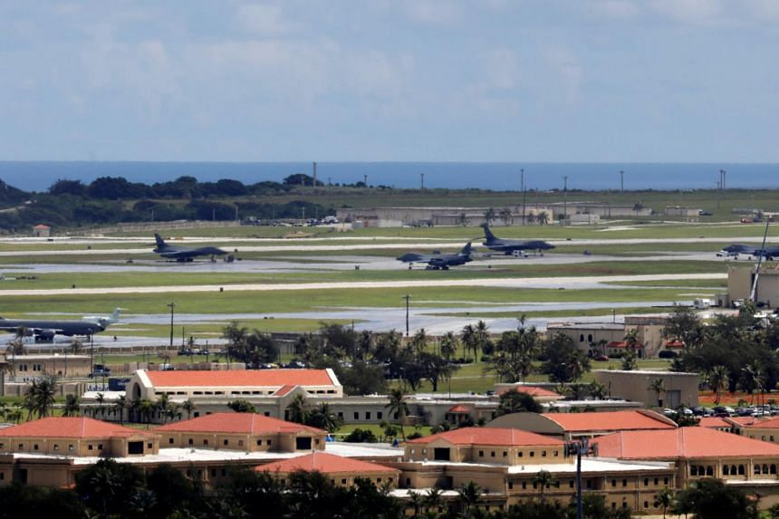 A view of US military planes parked on the tarmac of Andersen Air Force base on the island of Guam.