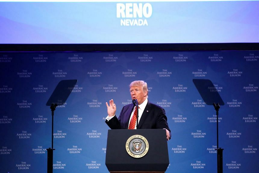 US President Donald Trump speaks to the National Convention of the American Legion in Reno, Nevada, US, on Aug 23, 2017.