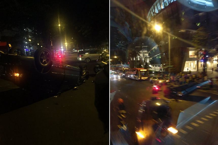 The accident resulted in a jam, and nine bus services were diverted.