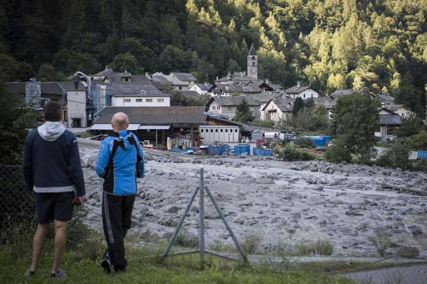 A view of the landslide and Bondo village in Graubuenden in south Switzerland on Aug 24, 2017.