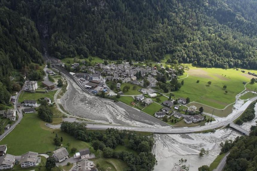 An aerial view of the site of the massive landslide that hit  Bondo village in south Switzerland on Aug 23, 2017.