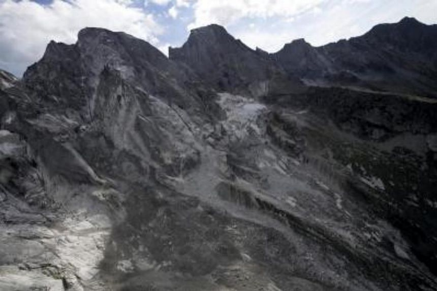 The abortion point of the massive landslide that hit Bondo village in south Switzerland on Aug 23, 2017.