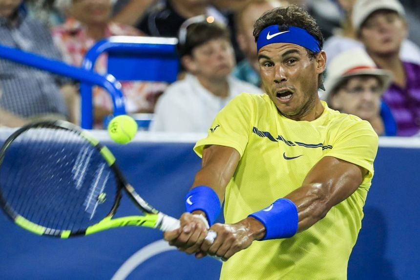 Nadal in action against Nick Kyrgios of Australia at the Western & Southern Open, Aug 18, 2017.