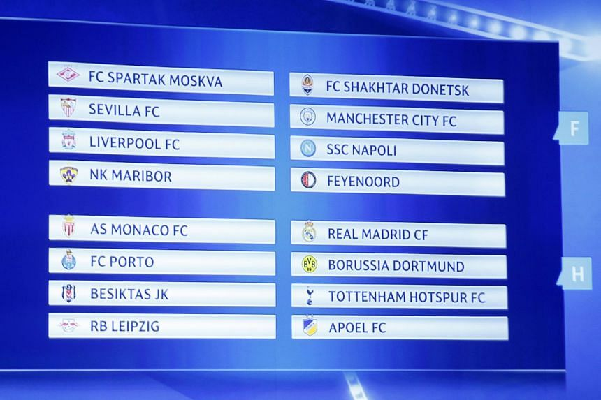 A view of the screen displaying the Uefa Champions League groups E to H.
