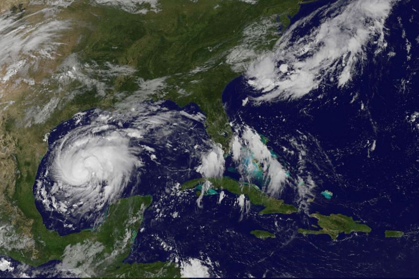 Harvey is seen approaching the Texas Gulf Coast in a satellite image.