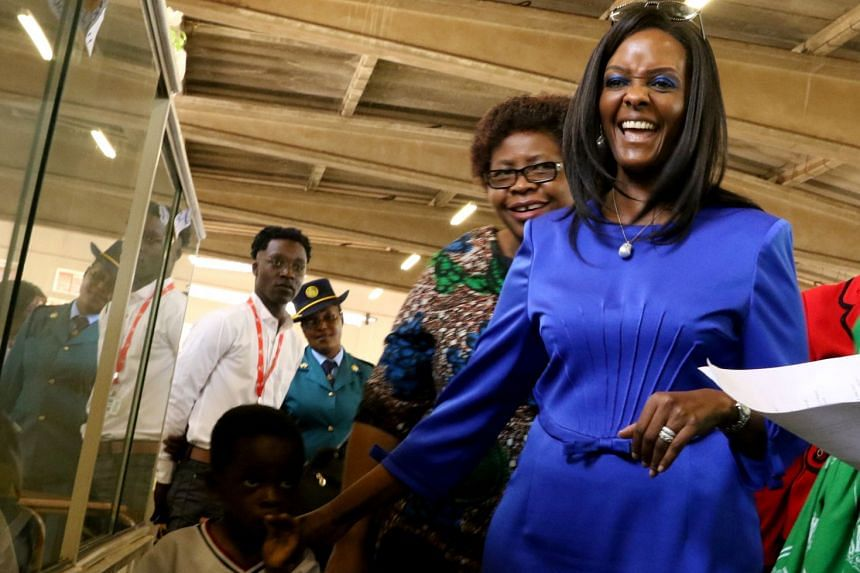 President Robert Mugabe's wife Grace visits the annual Agriculture Show in Harare, Aug 25, 2017.