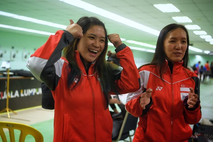Gold medalist Martina Lindsay Veloso (left) and silver medalist Jasmine Ser pictured after the SEA Games women's 10m air rifle held on Aug 25, 2017.