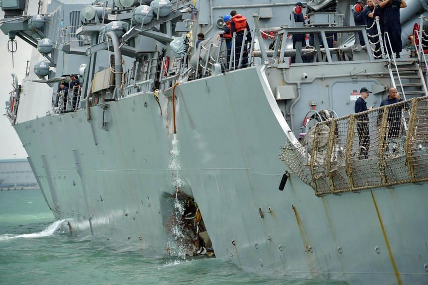 Guided-missile destroyer USS John S. McCain's collision with oil tanker Alnic MC on Aug 21, 2017, left it with a gaping gash in its hull.