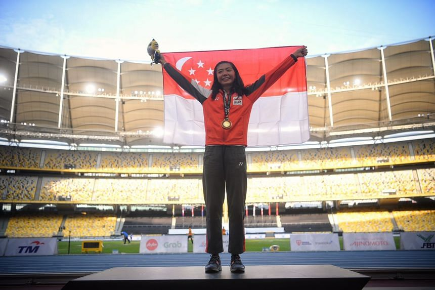 Michelle Sng after the SEA Games women's high jump victory ceremony on Aug 25, 2017.