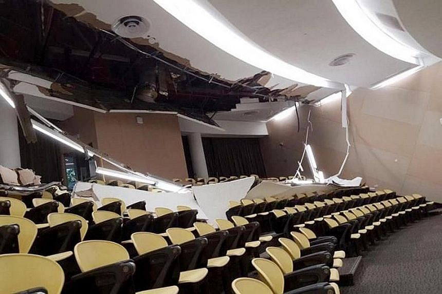 The false ceiling at the back of LT1 collapsed on Monday morning. The lecture theatre will be closed for repairs for at least a month.