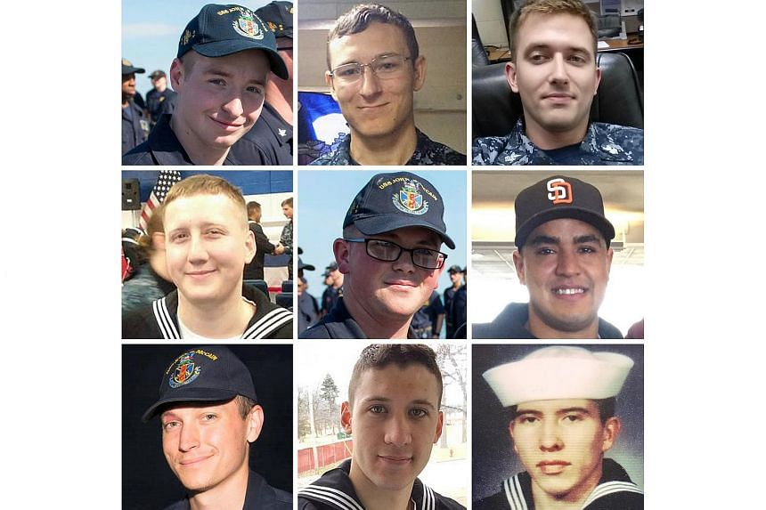 Sailors with the US Navy listed as dead or missing after their ship, the USS John S. McCain, collided with an oil tanker off the coast of Singapore on Aug 21, 2017.