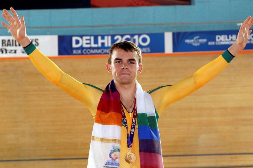 Jack Bobridge of Australia celebrates after winning the gold medal in the men's Individual Pursuit finals during the Commonwealth Games in New Delhi on Oct 5, 2010.