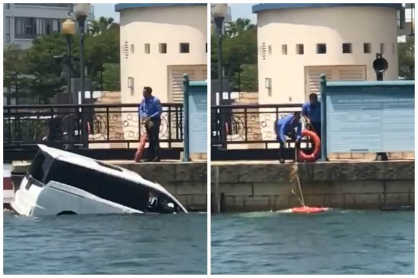 A man who was on another nearby yacht jumped into the sea and rescued the driver of the car.