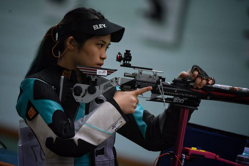Gold medalist Martina Lindsay Veloso in action during the SEA Games women's 10m air rifle held on Aug 25, 2017.