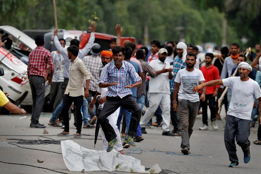 Supporters of Indian religious leader Gurmeet Ram Rahim Singhin during a protest in Panchkula, India, on Aug 25, 2017.
