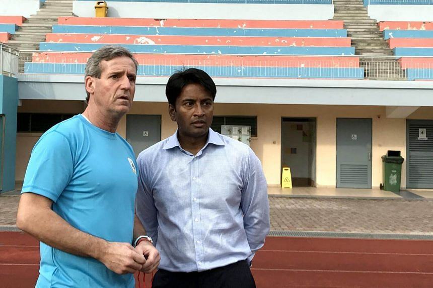 Tampines Rovers head coach Juergen Raab (left) with Krishna Ramachandra at the Jurong West Stadium on Feb 2, 2017.