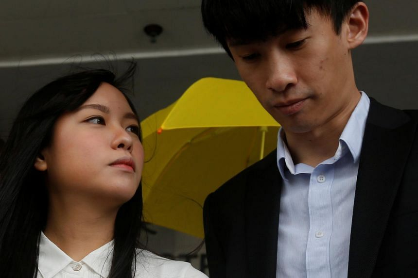 Disqualified pro-independence legislators Yau Wai-ching (left) and Baggio Leung outside a court last November, in Hong Kong, China on April 28, 2017.