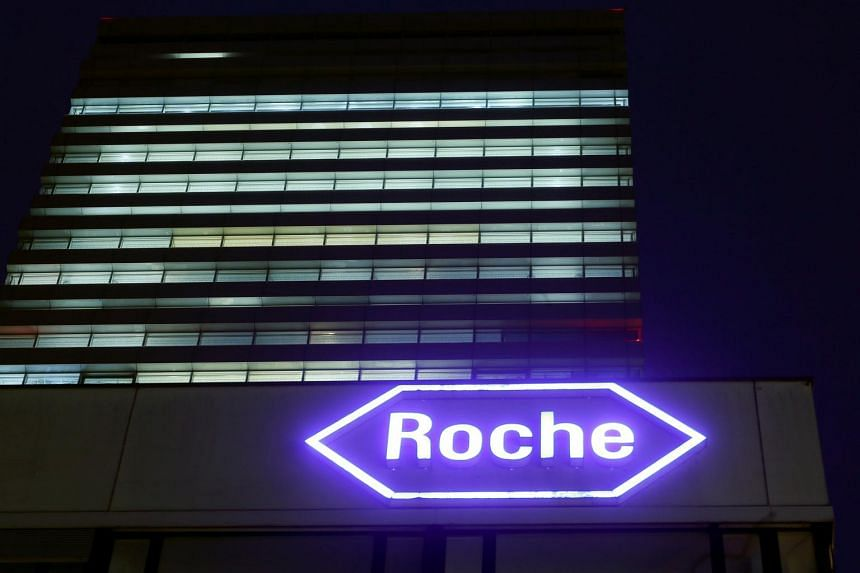 Swiss drugmaker Roche's logo is seen at their headquarters in Basel, on Jan 28, 2016.