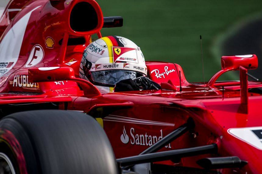 Vettel in action during the third practice session, Aug 26, 2017.