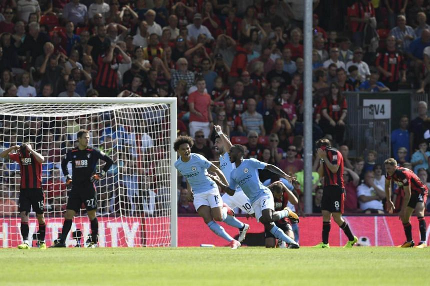 Manchester City's Raheem Sterling celebrates scoring their second goal during their game against Bournemouth on Aug 26, 2017.