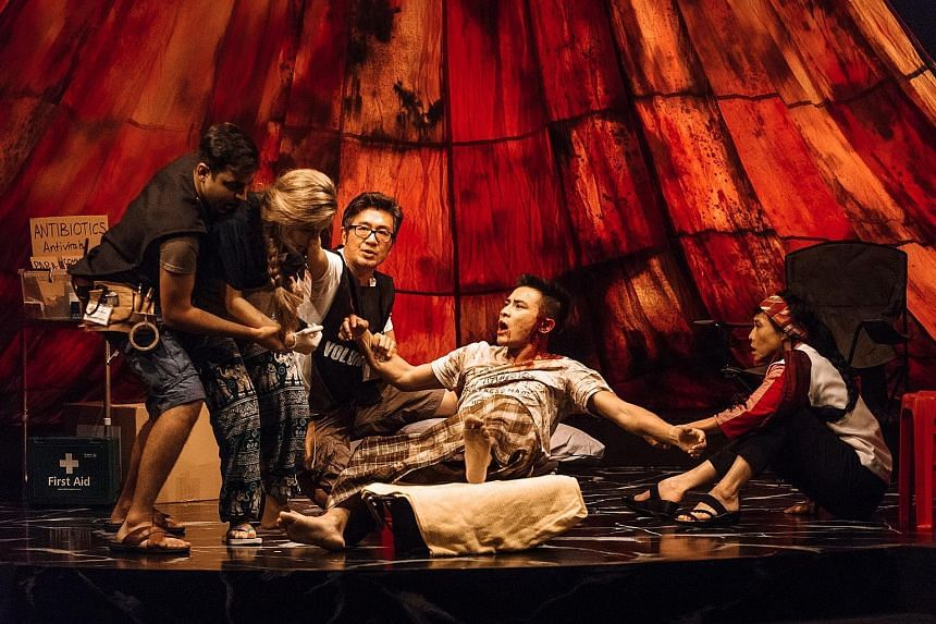 The story is played out in a semi-circular set. The cast (from left) Shrey Bhargava, Selma Alkaff, Adrian Pang, Thomas Pang and Tan Kheng Hua.