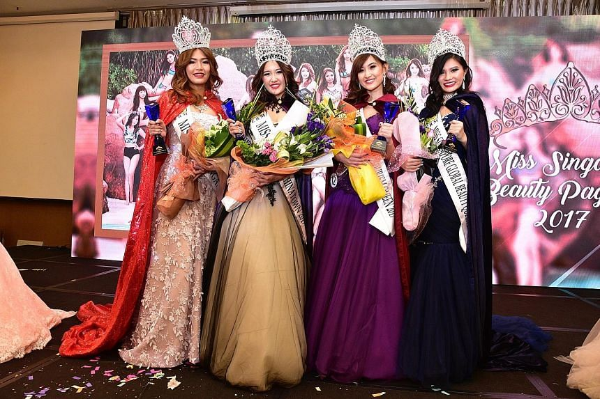 From left: Ms Grand Singapore Crystal Lim, Ms Singapore Chinatown Christina Cai, Ms Singapore Tourism Queen Tricia Koh and Ms Singapore Global Beauty Queen Amanda Li were the winners at the grand finals of the Miss Singapore Beauty Pageant 2017 last