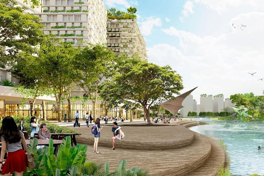 Multi-level connections (right) will make transfers between developments and transport nodes seamless for commuters in the Jurong Lake District. There will also be waterfront space for social activities, recreation and retail (below).