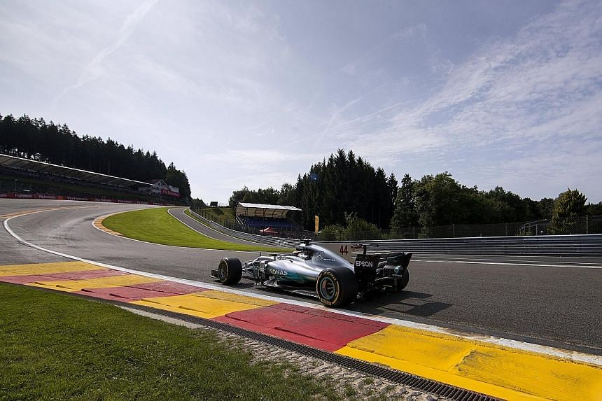 Lewis Hamilton of Mercedes in action during practice at the Spa-Francorchamps circuit yesterday. He is trailing Ferrari's Sebastian Vettel by 14 points heading into tomorrow's Belgian Grand Prix.