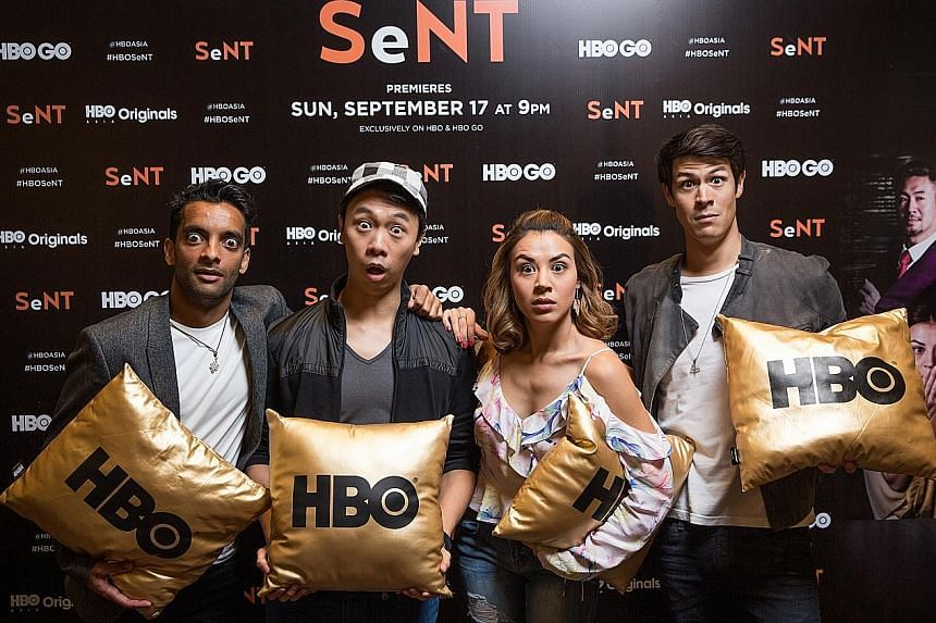 Alaric Tay (second from left) is director and producer of Sent, which features (from left) Haresh Tilani, Carla Dunareanu and Alan Wong.