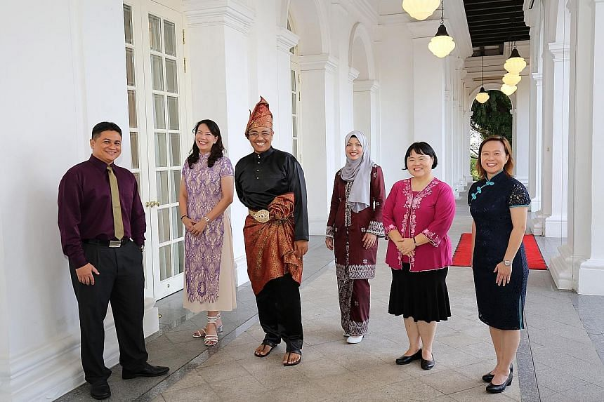 The six winners of the President's Award for Teachers this year are (from left) Mr Jahangeer Mohamed Jahabar, Madam Lim Hwee Sian, Mr Djohan Abdul Rahman, Ms Asrina Abdul Samar, Dr Ow Yeong Wai Mang and Ms Kwa Lay Ping.