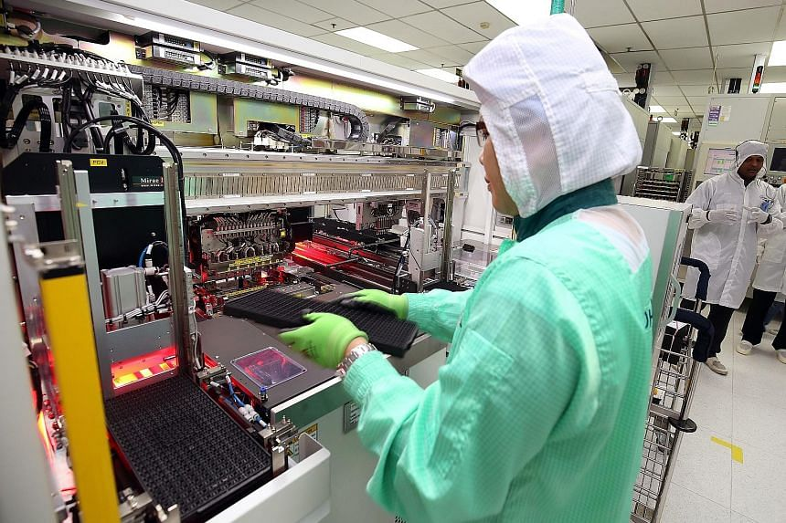 Strong global demand for semiconductors and related equipment lifted the electronics segment in Singapore to a high, with output surging 49.1 per cent last month from the same period last year. The good performance helped factory output to jump 21 pe