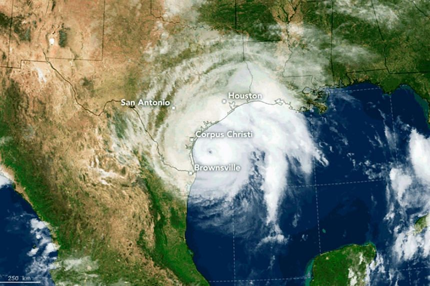 A image of Hurricane Harvey taken from NASA's Earth Observatory shows the storm's eye as it nears landfall in the southeastern coast of Texas, on Aug 25, 2017.