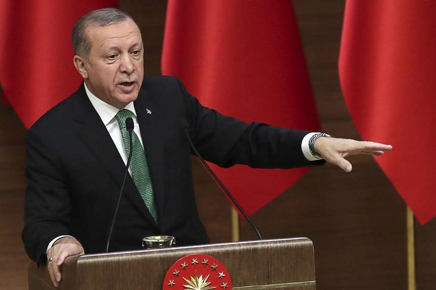 Turkish President Recep Tayyip Erdogan gestures as he sepaks during the 39th Mukhtars Meeting, at Presidential Complex in Ankara, on Aug 22, 2017.