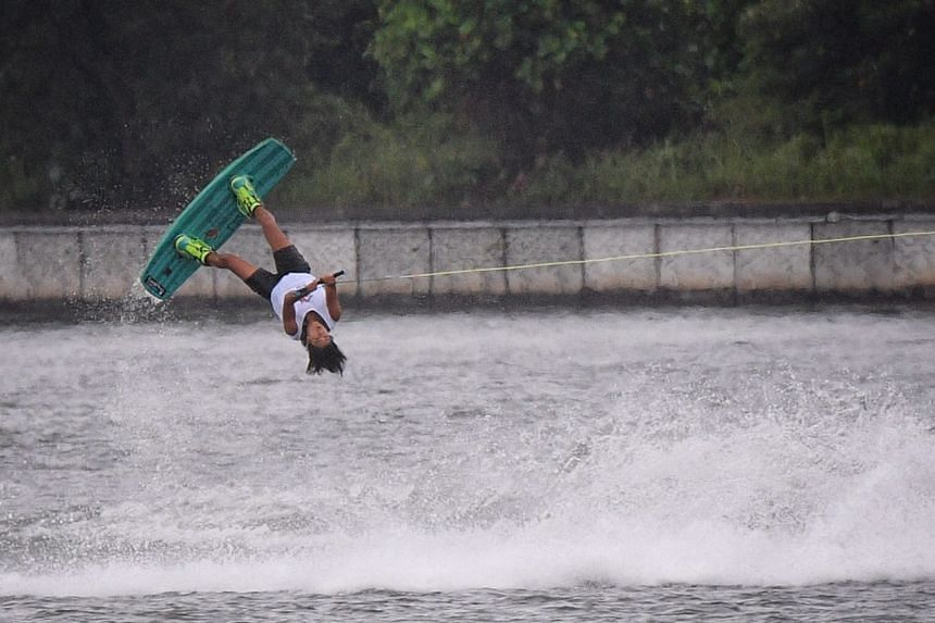 Sasha Cristian during the SEA Games women's wakeboard final at the Water Sports Complex at Putrajaya on Saturday morning (Aug 26).