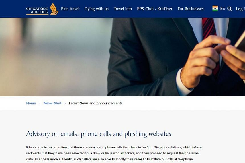 Singapore Airlines began receiving reports of such scams from Thursday (Aug 24).