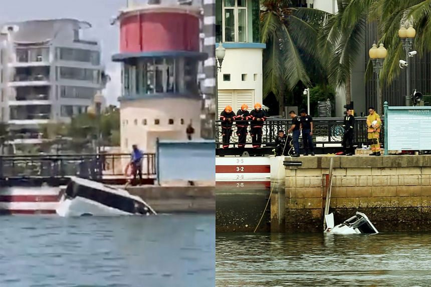 An eyewitness said he saw two Sentosa rangers on motorcycles pursuing a white car (left) before it plunged into the sea. The Singapore Police Force, Police Coast Guard and Singapore Civil Defence Force (right) were activated following the incident, s