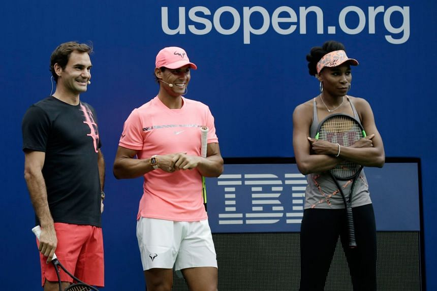 Federer (left), Nadal and Venus Williams participate at Arthur Ashe Kids Day in Flushing Meadows, Aug 26, 2017.