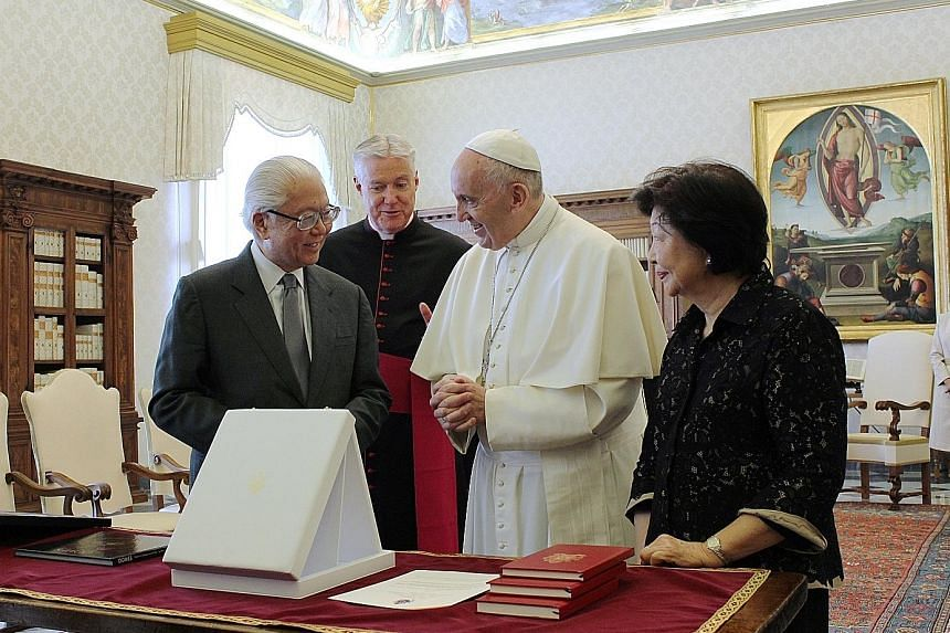 President Tan and his wife Mary meeting Pope Francis at the Vatican City last May. It was the first state visit by a Singaporean head of state to the Holy See.