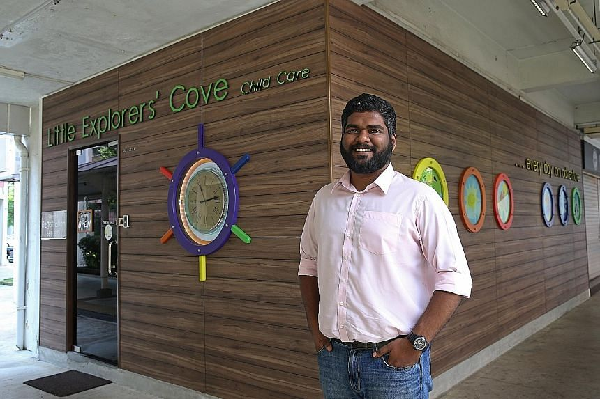 A playgroup comprising Nursery 1 children in progress at Little Explorers' Cove childcare centre in Jurong West. The centre is said to have a higher proportion of minorities because of its mother tongue niche. Mr Viknesh Subramaniam runs two Little E