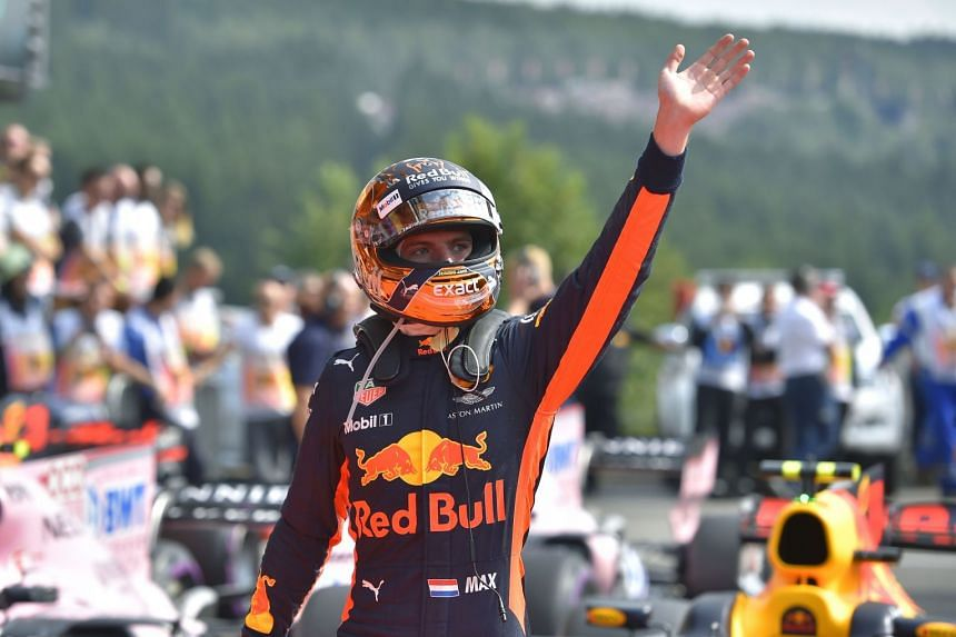 Verstappen celebrates after placing fifth in the qualifying session for the Belgian grand prix.