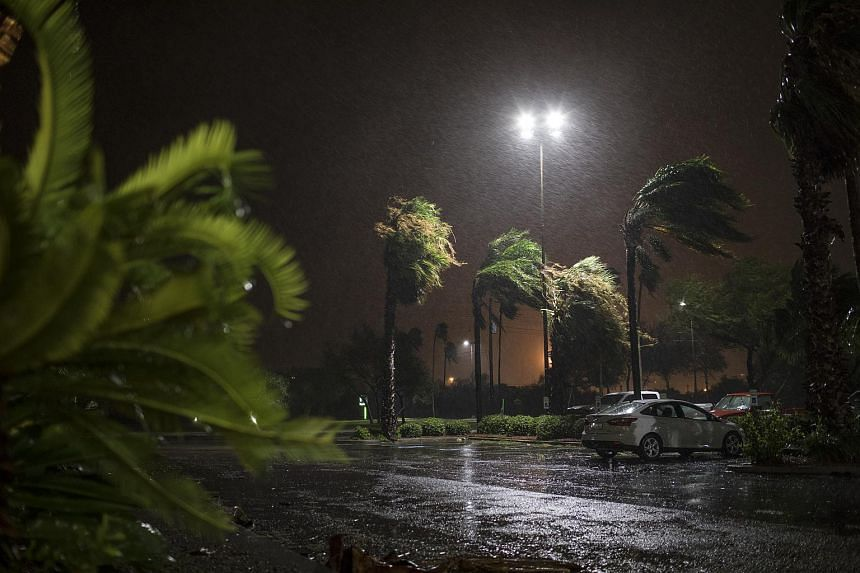 Heavy rains and strong winds during Hurricane Harvey in Corpus Christi, on Aug 25, 2017.