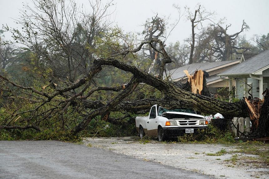 A car is crushed by a huge tree after Hurricane Harvey struck in Rockport, on Aug 26, 2017.