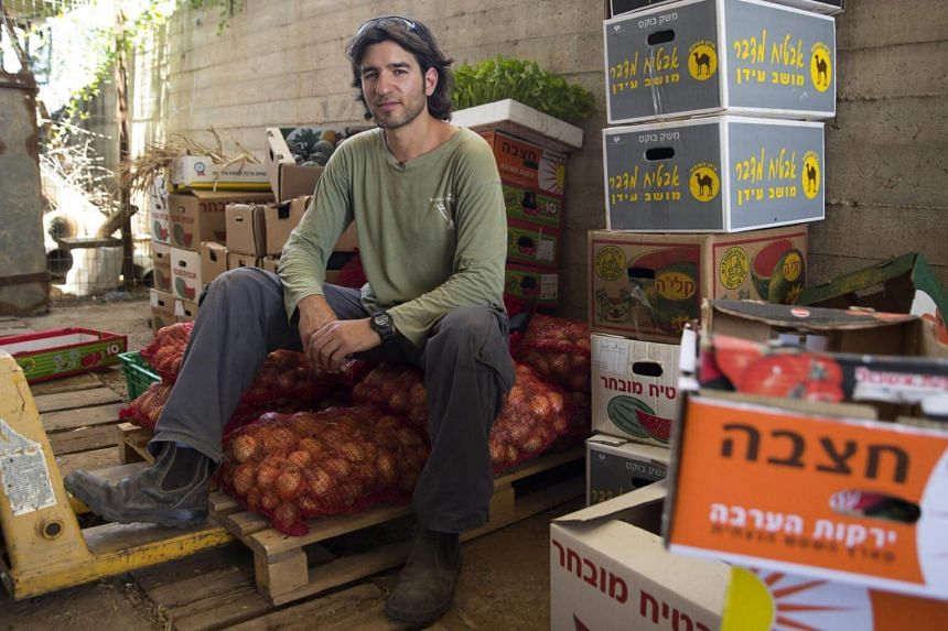 Dotan Goshen, the owner of a bio-farm in the kibbutz of Hama'apil, in central Israel, replies to AFP journalist's question at his organic fruit and vegetable farm on May 8, 2017.