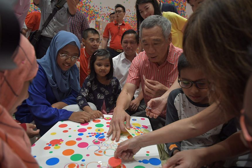 Prime Minister Lee Hsien Loong attending the PCF Family Day held at the National Gallery on Aug 27, 2017.