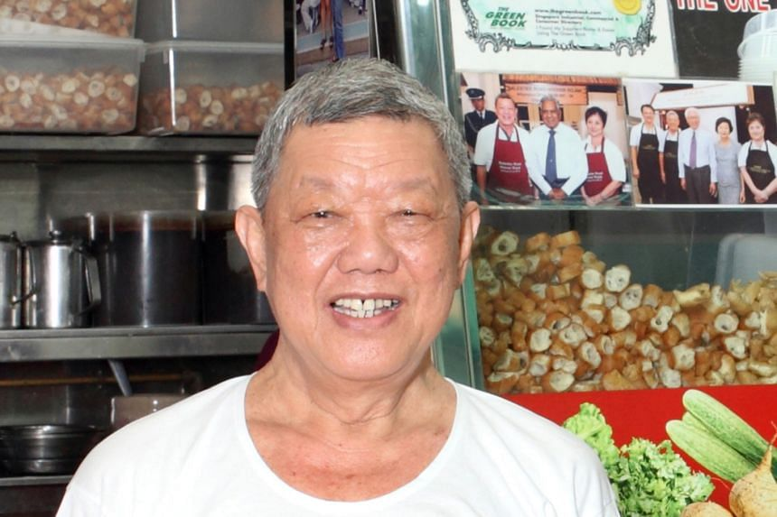 The funeral cortege of Mr Lim Ngak Chew, founder of the Balestier Road Hoover Rojak stall at Whampoa Makan Place, passing by the food centre yesterday in accordance with his wishes. Mr Lim, 71, died last Tuesday. Mr Lim often enjoyed talking to his p