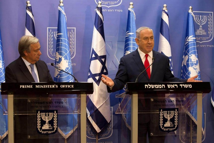 Israeli Prime Minister Benjamin Netanyahu (right) and UN Secretary General Antonio Guterres hold a press conference at the prime minister's office in Jerusalem, on Aug 28, 2017.