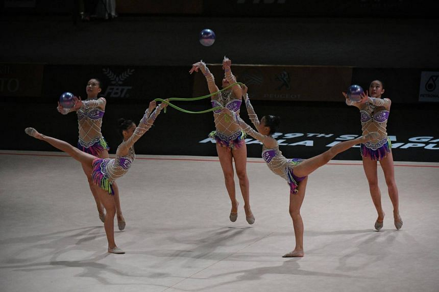 The Singapore team in action during the SEA Games rhythmic gymnastics mixed apparatus final on Aug 28, 2017.