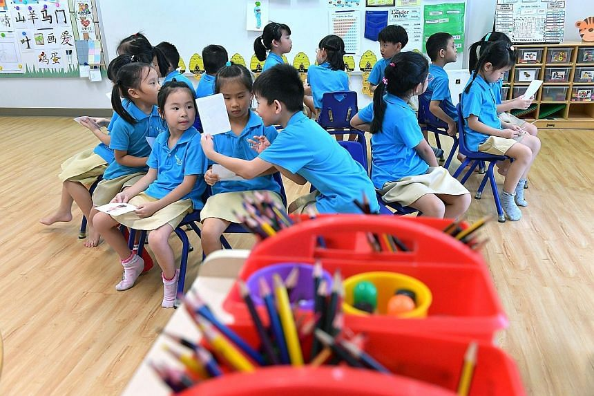 A reading class for K1 children at MOE Kindergarten @ Frontier Primary. MOE has been sharing its kindergarten curriculum resources based on its Nurturing Early Learners framework, under which learning objectives include having a child be able to enjo