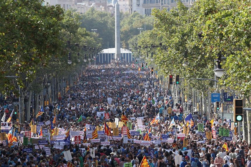 """Demonstrators in Barcelona last Saturday carrying signs calling for peace, warning against Islamophobia and asking the authorities to stop selling weapons. Some also bore the message """"No tinc por"""" - Catalan for """"I'm not afraid""""."""
